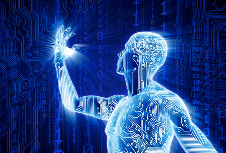 un homme augmenté grâce à l'intelligence artificielle