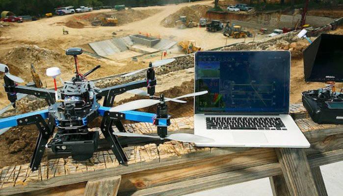 drone sur chantier btp