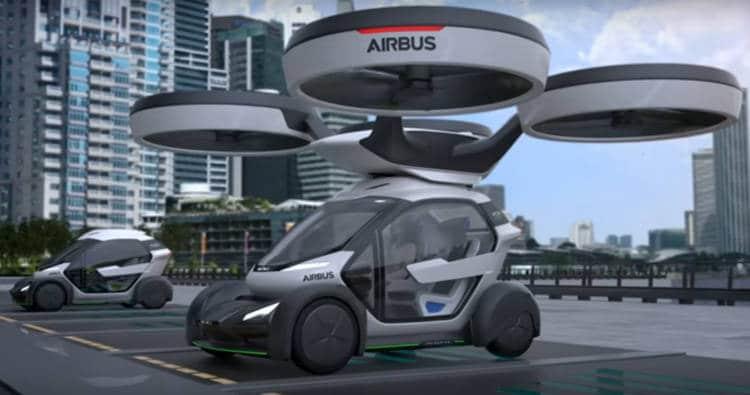 le Pop Up d'airbus est un véhicule volant à 8 rotors, modulable en véhicule terrestre électrique