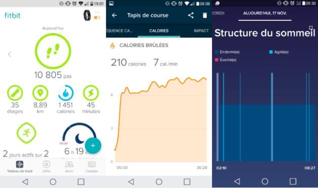 Applications proposées par le Fitbit Charge 2
